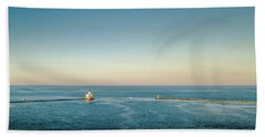 Beach Towel featuring the photograph Milwaukee Harbor by Randy Scherkenbach