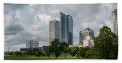 Milwaukee Skyline From Veterans Park 3 Beach Towel