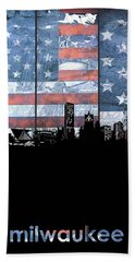 Milwaukee Skyline Usa Flag Beach Towel