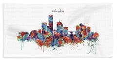 Beach Towel featuring the mixed media Milwaukee Watercolor Skyline by Marian Voicu