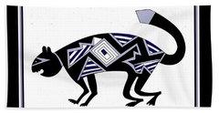 Beach Towel featuring the digital art Mimbres Mountain Lion by Vagabond Folk Art - Virginia Vivier