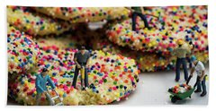 Miniature Construction Workers On Sprinkle Cookies Beach Sheet