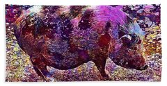 Beach Sheet featuring the digital art Miniature Pig Pregnant Animal Pig  by PixBreak Art