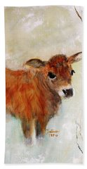 Beach Towel featuring the painting Nicholas The Miniature Zebu Calf by Barbie Batson