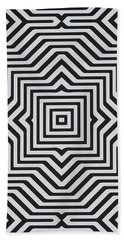 Minimal Geometrical Optical Illusion Style Pattern In Black White T-shirt  Beach Towel