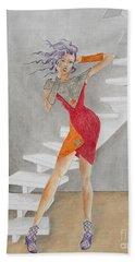Minimalist Madness -- Whimsical Fashion Drawing Beach Sheet