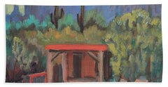 Beach Towel featuring the painting Mining Camp At Superstition Mountain Museum by Diane McClary