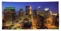 Minneapolis Skyline Art Marquette Avenue Beach Towel