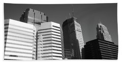 Beach Towel featuring the photograph Minneapolis Skyscrapers Bw 5 by Frank Romeo