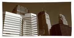 Beach Towel featuring the photograph Minneapolis Skyscrapers 5 Sepia by Frank Romeo