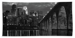 Minneapolis Stone Arch Bridge Bw Beach Sheet