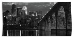 Minneapolis Stone Arch Bridge Bw Beach Towel