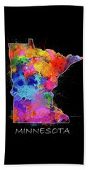 Minnesota Map Color Splatter 2 Beach Towel