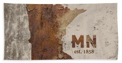 Minnesota State Map Industrial Rusted Metal On Cement Wall With Founding Date Series 036 Beach Towel