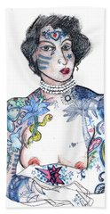 Beach Towel featuring the mixed media Minnie - An Homage To Maud Wagner, Tattoos  by Carolyn Weltman