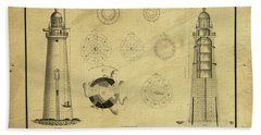 Beach Towel featuring the drawing Minot's Ledge Light House. Massachusetts Bay by Vintage