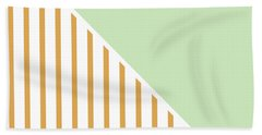Mint And Gold Geometric Beach Towel by Linda Woods