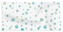 Mint Blue Watercolor Confetti Dots Beach Towel