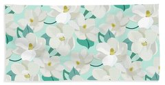 Mint Magnolias Beach Towel