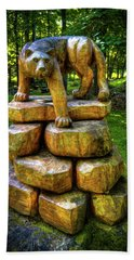 Beach Towel featuring the photograph Mirnie's Cougar Sculpture by David Patterson