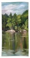 Mirror Lake En Plein Air Beach Towel by Nancy Griswold