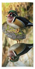 Mirrored Wood Duck Beach Towel
