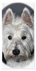 Mischievous Westie Dog Beach Sheet by Bob Slitzan