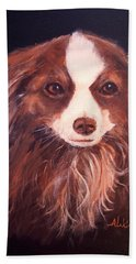 Beach Towel featuring the painting Miss Pippin by Alan Lakin
