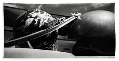 Mission Space Black And White Beach Sheet by Eduard Moldoveanu