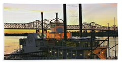 Mississippi Riverboat Sunset Beach Towel