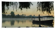 Mist Lake Silhouette Beach Towel