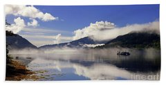 Mist On The Loch Beach Towel by Lynn Bolt