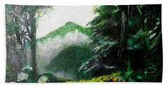 Beach Towel featuring the painting Mist On The Mountain by Seth Weaver