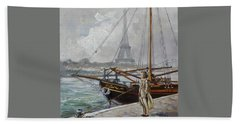 Mist On The Seine, Paris Beach Towel