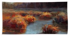 Beach Sheet featuring the painting Misty Autumn Meadow With Creek And Grass - Landscape Painting From Alaska by Karen Whitworth