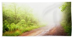 Beach Towel featuring the photograph Misty Back Road, Pocono Mountains, Pennsylvania by A Gurmankin
