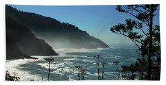 Misty Coast At Heceta Head Beach Sheet by James Eddy