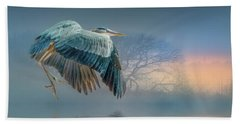 Misty Dawn Heron Beach Towel