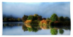Misty Fall Colors On The River Beach Towel