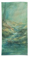 The Misty Forest Stream Beach Towel by Mary Wolf