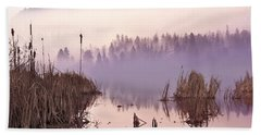 Misty Morning At Vaseux Lake Beach Towel