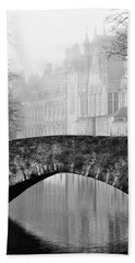 Beach Towel featuring the photograph Misty Morning Canal In Bruges by Barry O Carroll