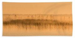 Misty Morning Floating Bog Island On Boy Lake Beach Towel