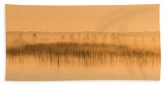 Misty Morning Floating Bog Island On Boy Lake Beach Towel by Patti Deters
