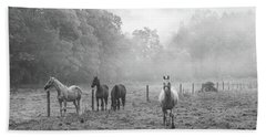 Misty Morning Horses Beach Towel