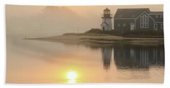 Misty Morning Hyannis Harbor Lighthouse Beach Towel by Roupen  Baker