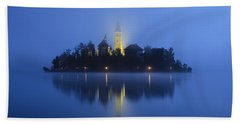 Misty Morning Lake Bled Slovenia Beach Sheet