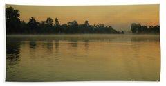 Misty Morning Lake Beach Sheet