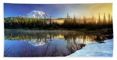 Misty Morning Lake Beach Towel