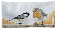 Misty Morning Meadow- Chickadee And European Robin Beach Towel